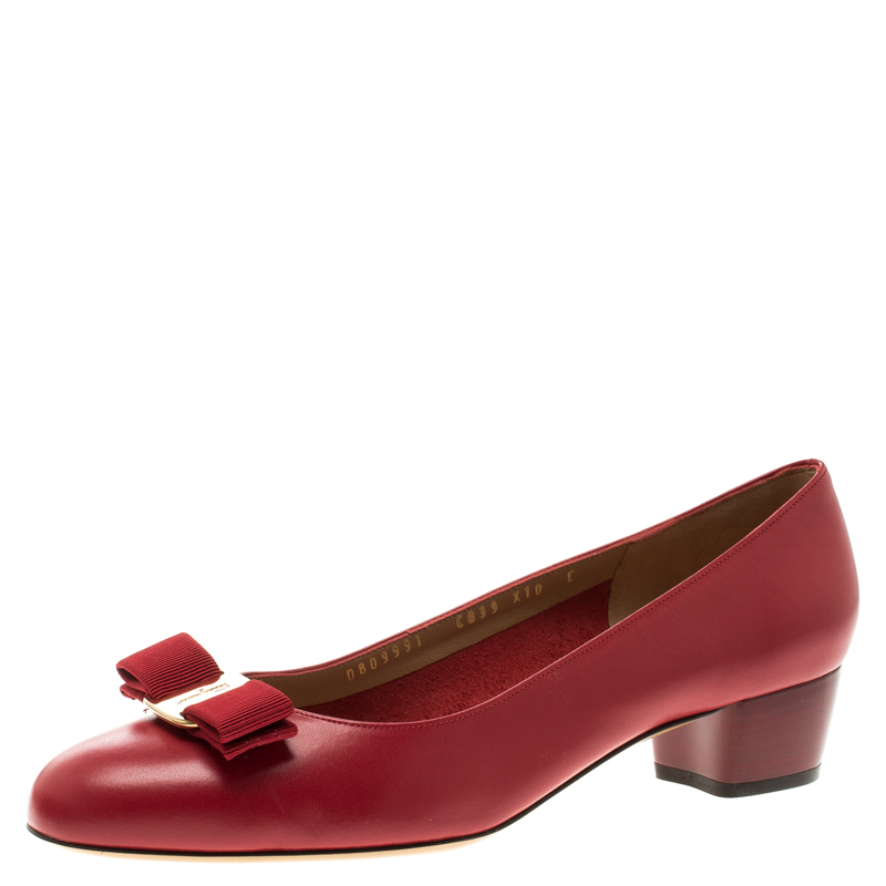 69fba7a33a ... Salvatore Ferragamo Red Leather Vara Bow Block Heel Pumps Size 40.5.  nextprev. prevnext