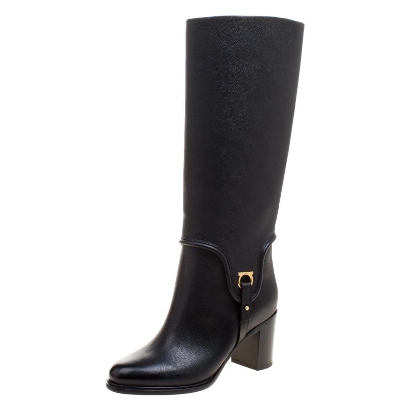 502e638b24f6 ... Salvatore Ferragamo Black Pebbled Leather Flavius Block Heel Tall Boots  Size 37. nextprev. prevnext