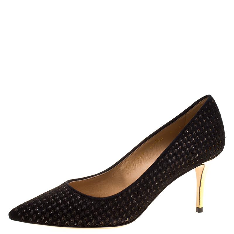 8ea637972a89 Buy Salvatore Ferragamo Black Perforated Suede Susi Patch Pointed ...