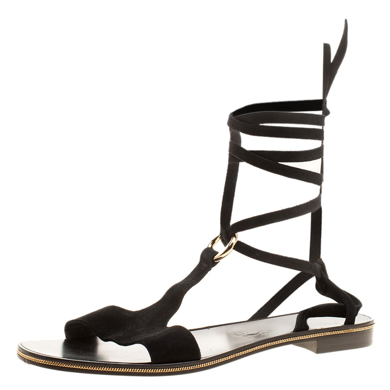 Salvatore Ferragamo Black Suede Gladiator Sandals Size 39.5