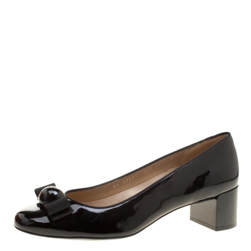 f4b5bf8ced ... Salvatore Ferragamo Black Patent Leather Fiocco Vara Block Heel Pumps  Size 40.5. nextprev. prevnext