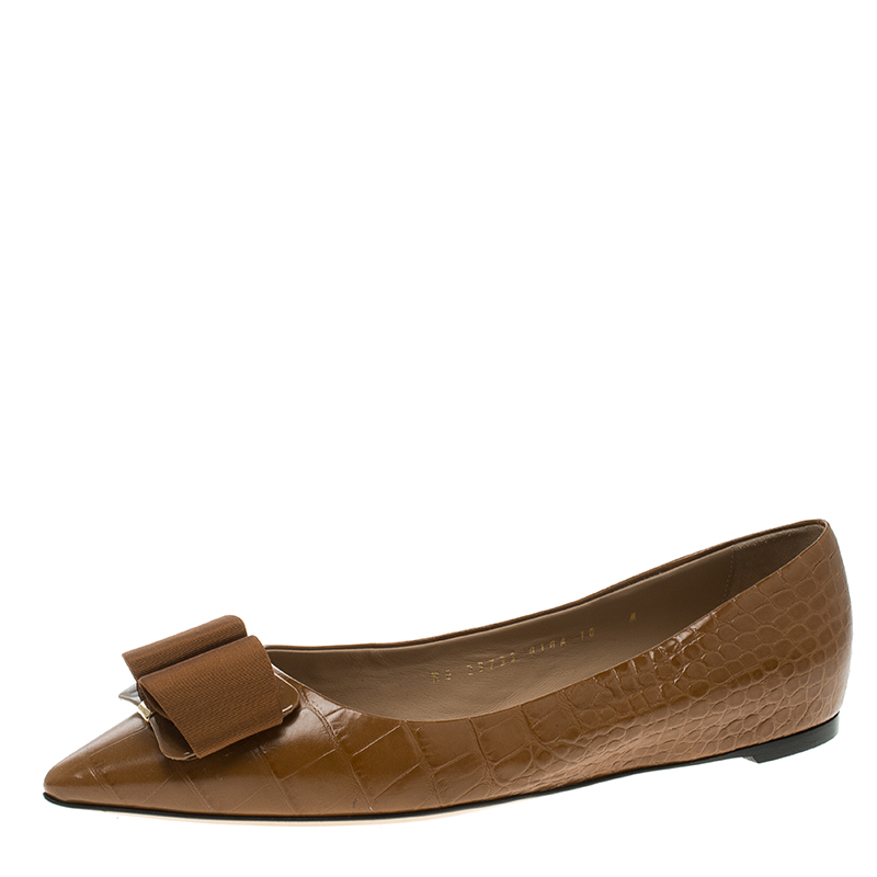 62ece88dc ... Salvatore Ferragamo Brown Croc Embossed Leather Mimi Pointed Toe Flats  Size 40.5. nextprev. prevnext