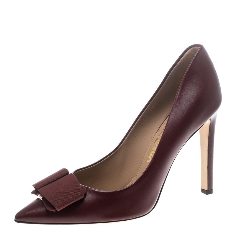 b4ba13b31 Buy Salvatore Ferragamo Burgundy Leather Mimi Bow Detail Pointed Toe ...