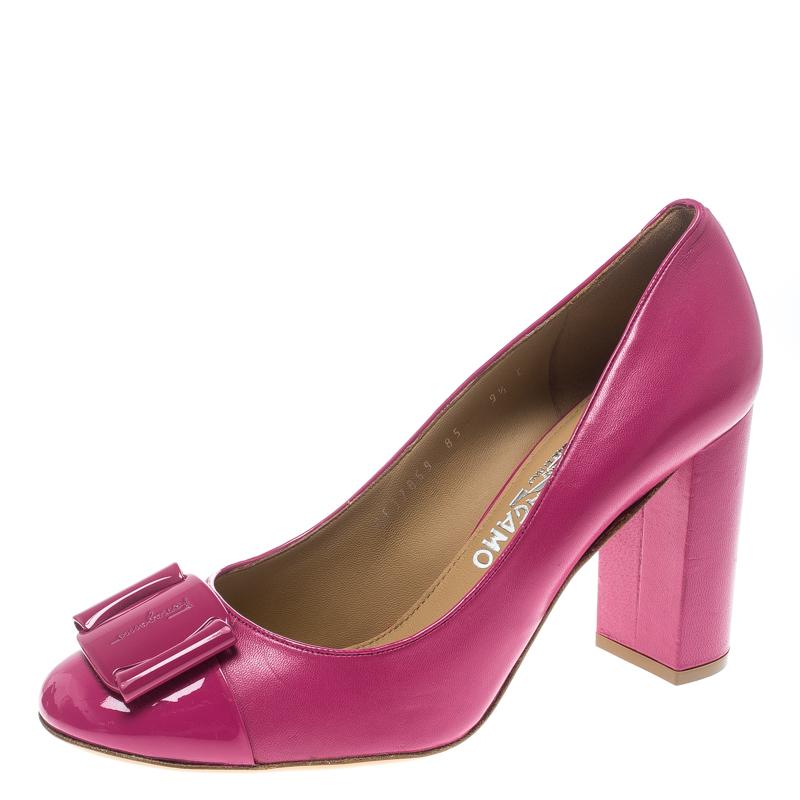 127d45a82a4d ... Salvatore Ferragamo Pink Leather Patrece Block Heel Pumps Size 40.  nextprev. prevnext