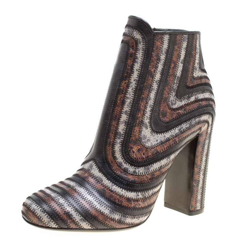 e6717b360f7c ... Salvatore Ferragamo Multicolor Leather Feeling Zig Zag Block Heel Ankle  Boots Size 38.5. nextprev. prevnext
