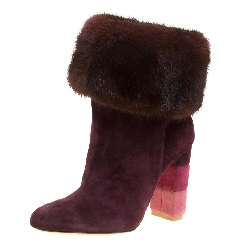 e0fffd0be8f Buy Salvatore Ferragamo Burgundy Suede Loris Fur Trim Ankle Boots ...