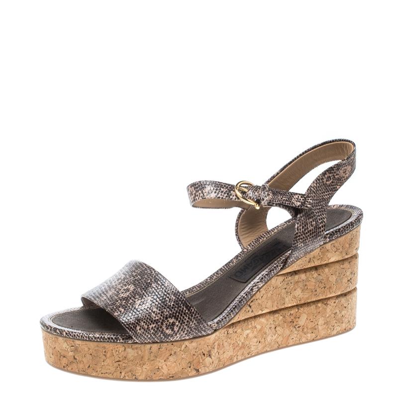 10473dd9f45 ... Salvatore Ferragamo Two Tone Embossed Lizard Leather Madea Cork Wedge  Sandals Size 40. nextprev. prevnext