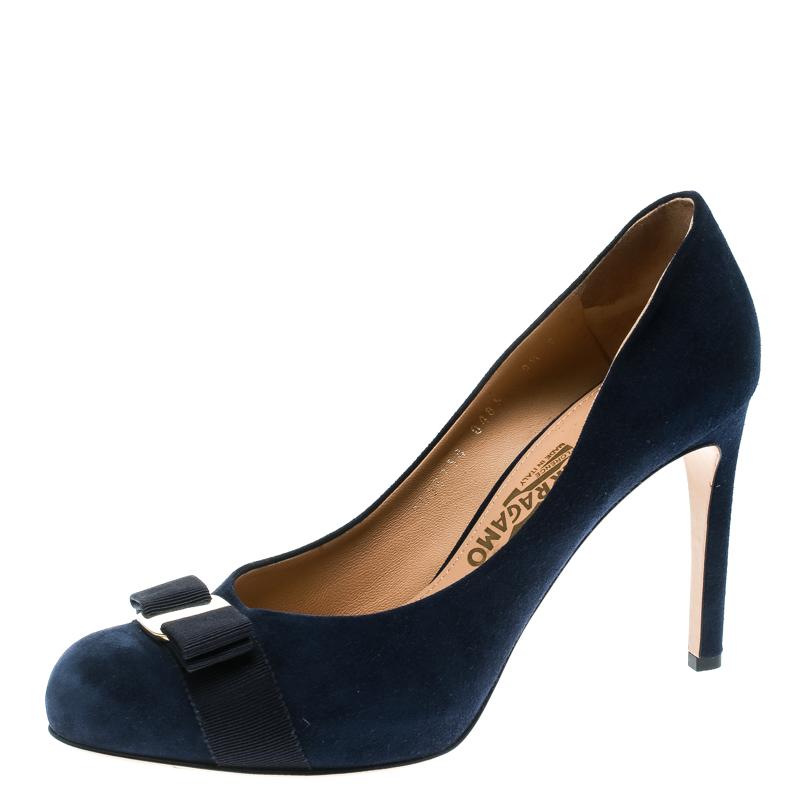d84655199db ... Salvatore Ferragamo Blue Suede Carla Vara Bow Pumps Size 40. nextprev.  prevnext