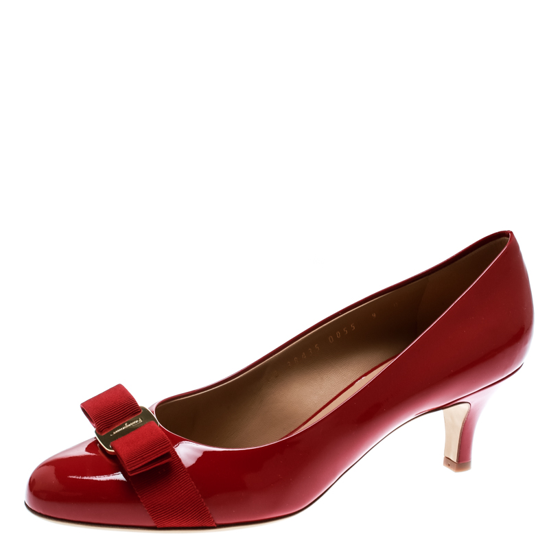 ad82c604d0 ... Salvatore Ferragamo Red Patent Leather Carla Vara Bow Pumps Size 39.5.  nextprev. prevnext