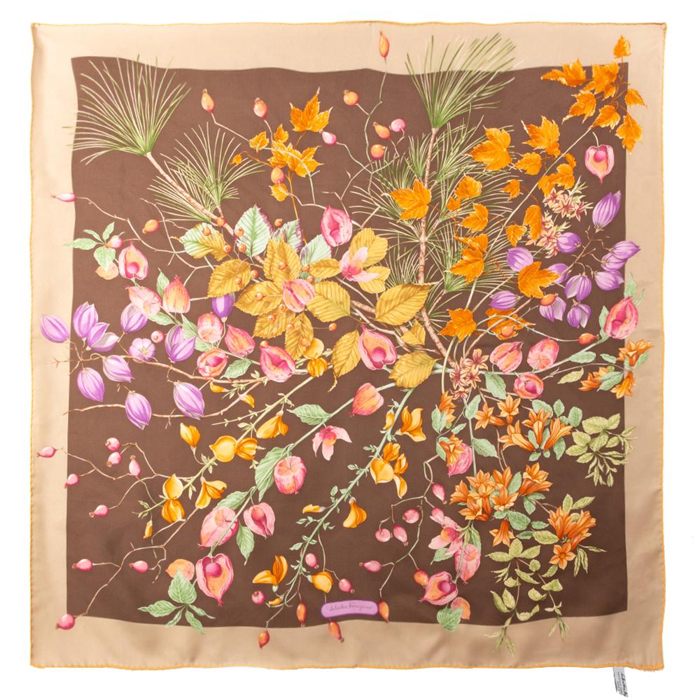 Pre-owned Salvatore Ferragamo Brown Fruit Print Silk Scarf
