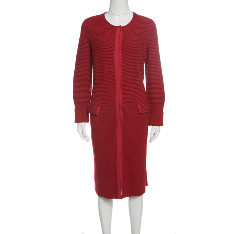 Фото #1: Salvatore Ferragamo Red Wool Chunky Rib Knit Dress Cardigan L