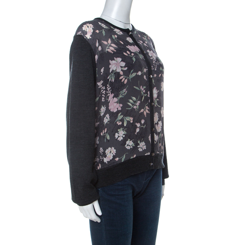 Фото #1: Salvatore Ferragamo Charcoal Grey Knit and Floral Printed Silk Cardigan XL