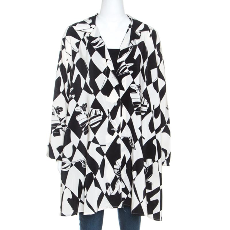 Salvatore Ferragamo Monochrome Shoe Printed Silk Oversized Shirt L
