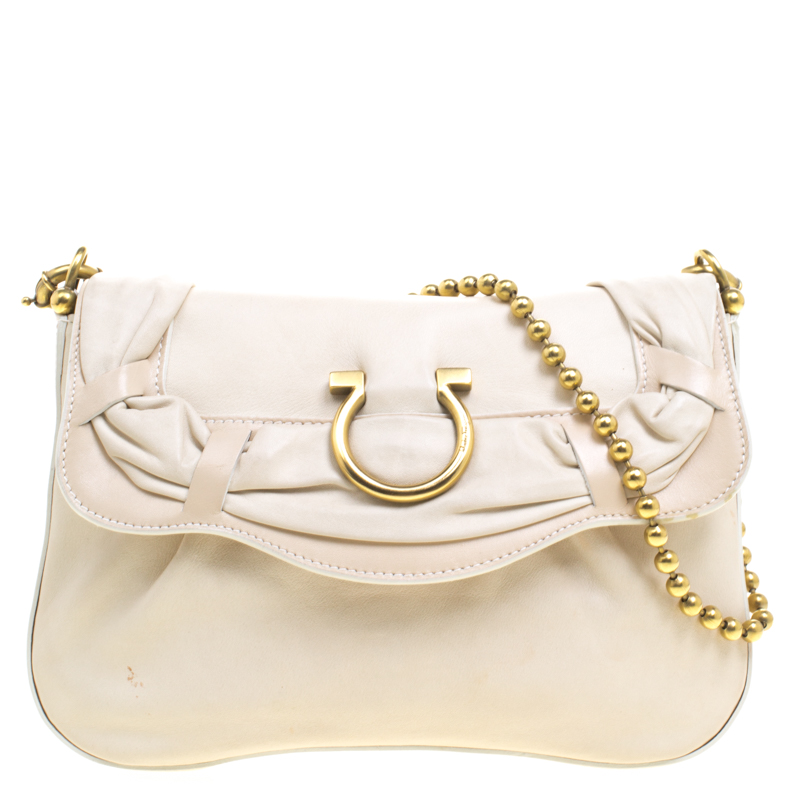 eb755475d3a48 ... Salvatore Ferragamo Off White Leather Beaded Chain Shoulder Bag.  nextprev. prevnext