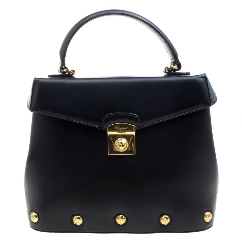 aaee92e5999c Buy Salvatore Ferragamo Black Leather Vintage Studded Top Handle Bag ...