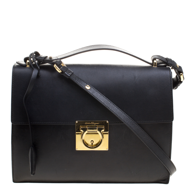 418bb639e4 ... Salvatore Ferragamo Black Leather Gancio Lock Shoulder Bag. nextprev.  prevnext