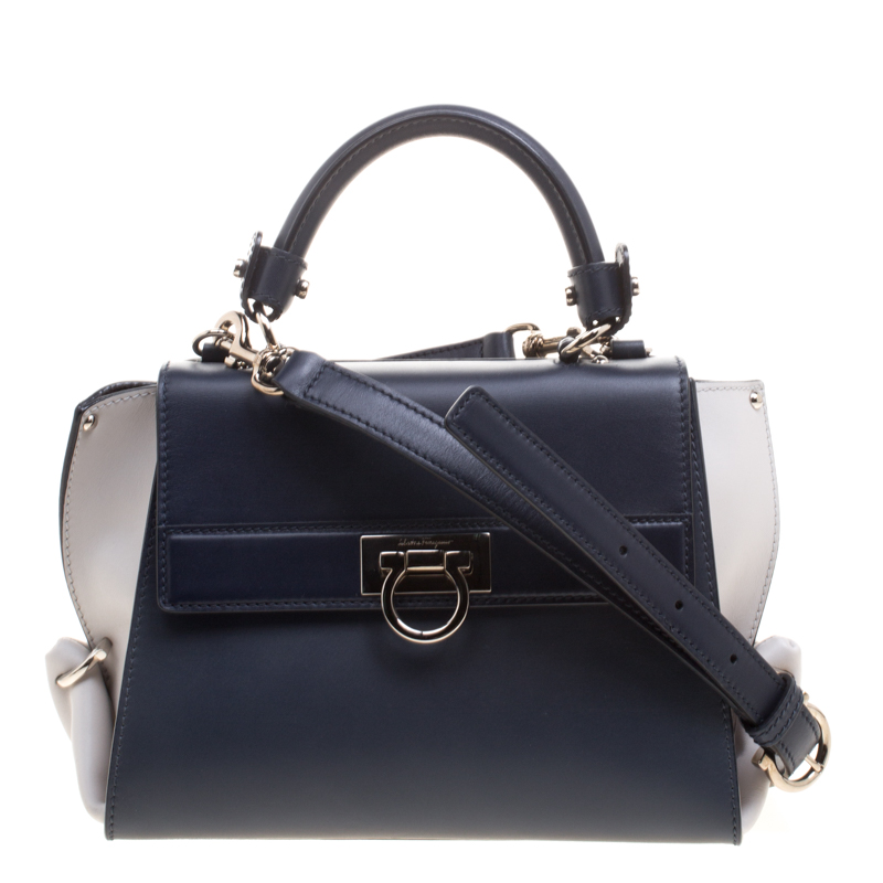 aa82622cf77d ... Salvatore Ferragamo Navy Blue White Leather Sofia Top Handle Bag.  nextprev. prevnext