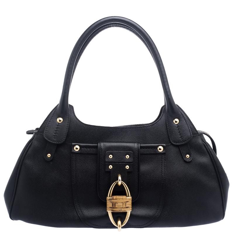 9be350ba8d5f0 Salvatore Ferragamo Black Leather Wicker Padlock Satchel