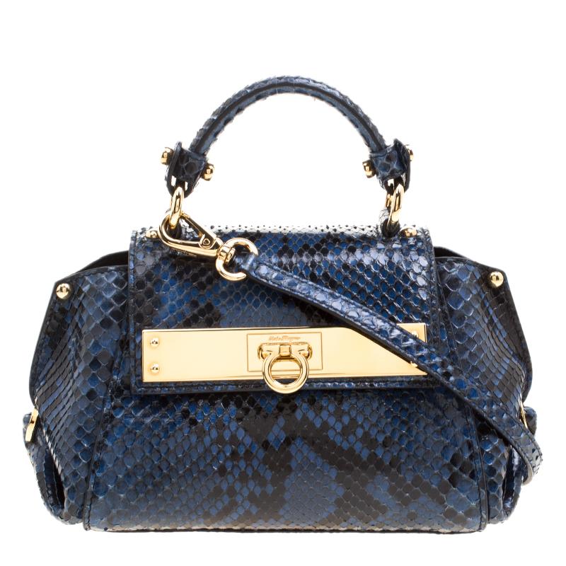 0835e361ce ... Salvatore Ferragamo Blue Python Mini Sofia Crossbody Bag. nextprev.  prevnext
