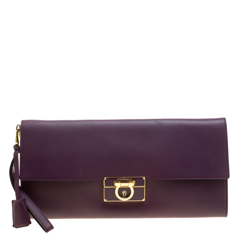 1d94ebe99ca ... Salvatore Ferragamo Purple Leather Afef Gancio Clutch. nextprev.  prevnext
