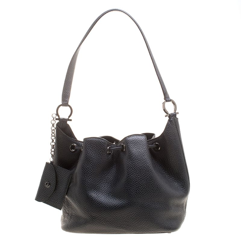 d28adc51b08d Salvatore Ferragamo Black Pebbled Leather Drawstring Hobo 127848