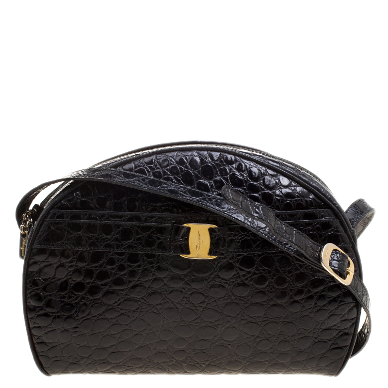 ... Salvatore Ferragamo Black Croc Embossed Leather Crossbody Bag.  nextprev. prevnext 3afe24f874550