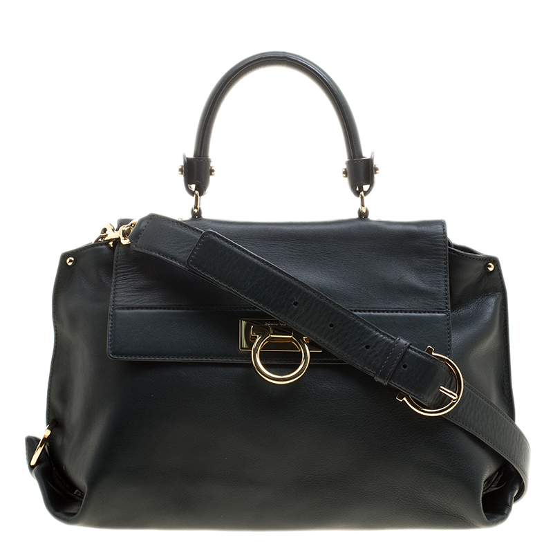 666604391c98 Buy Salvatore Ferragamo Dark Green Leather Medium Sofia Satchel ...