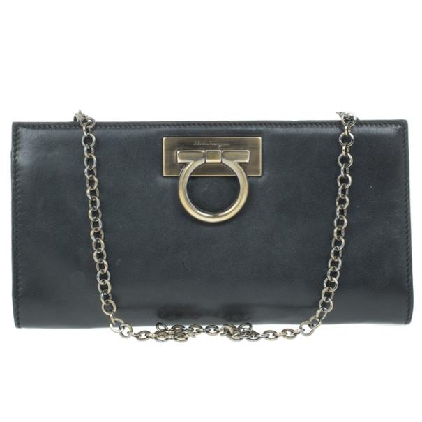 41fad98c505 ... Salvatore Ferragamo Black Leather Norina Clutch. nextprev. prevnext