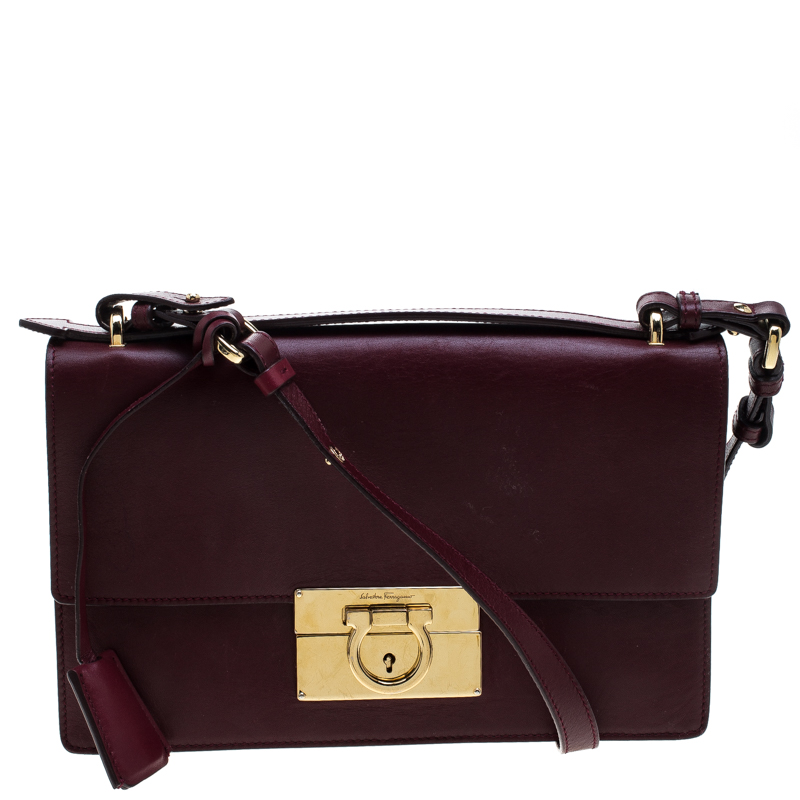 e813786f6d ... Salvatore Ferragamo Burgundy Leather Aileen Gancio Shoulder bag.  nextprev. prevnext