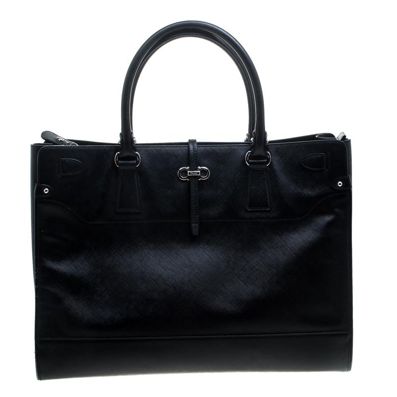 ff603f2f2184 ... Salvatore Ferragamo Black Leather Large Briana Tote. nextprev. prevnext