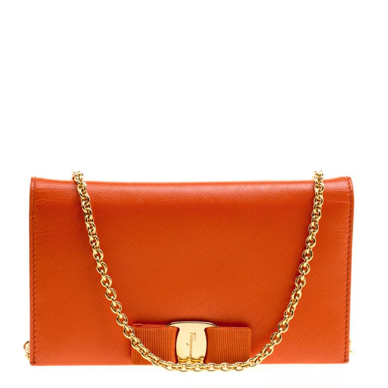 3dcc8969158 Salvatore Ferragamo Orange Leather Miss Vara Wallet On Chain