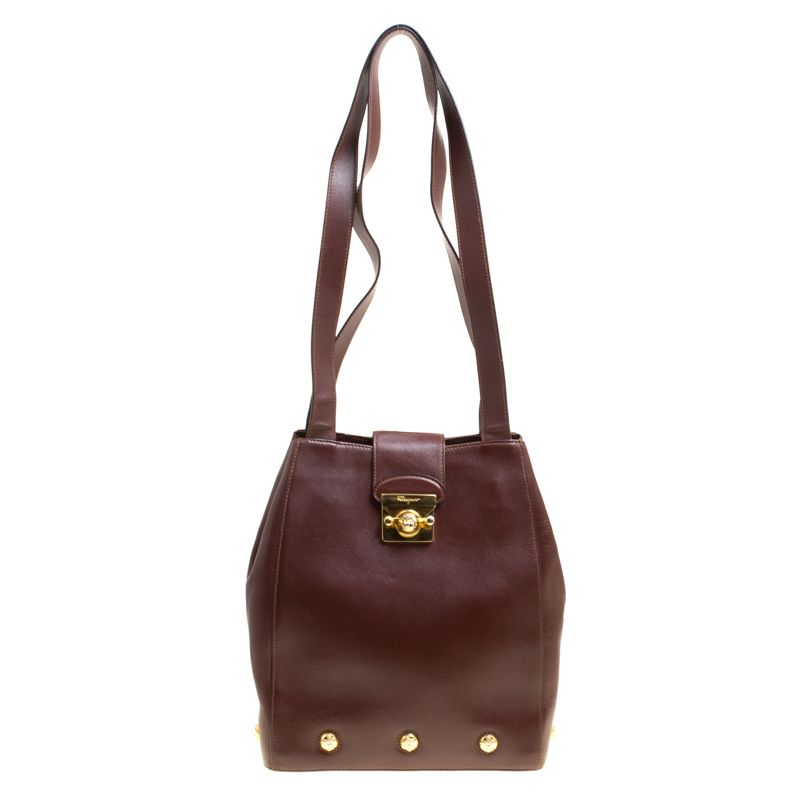 c54056cd8395 ... Salvatore Ferragamo Brown Leather Vintage Golden Motifs Shoulder Bag.  nextprev. prevnext