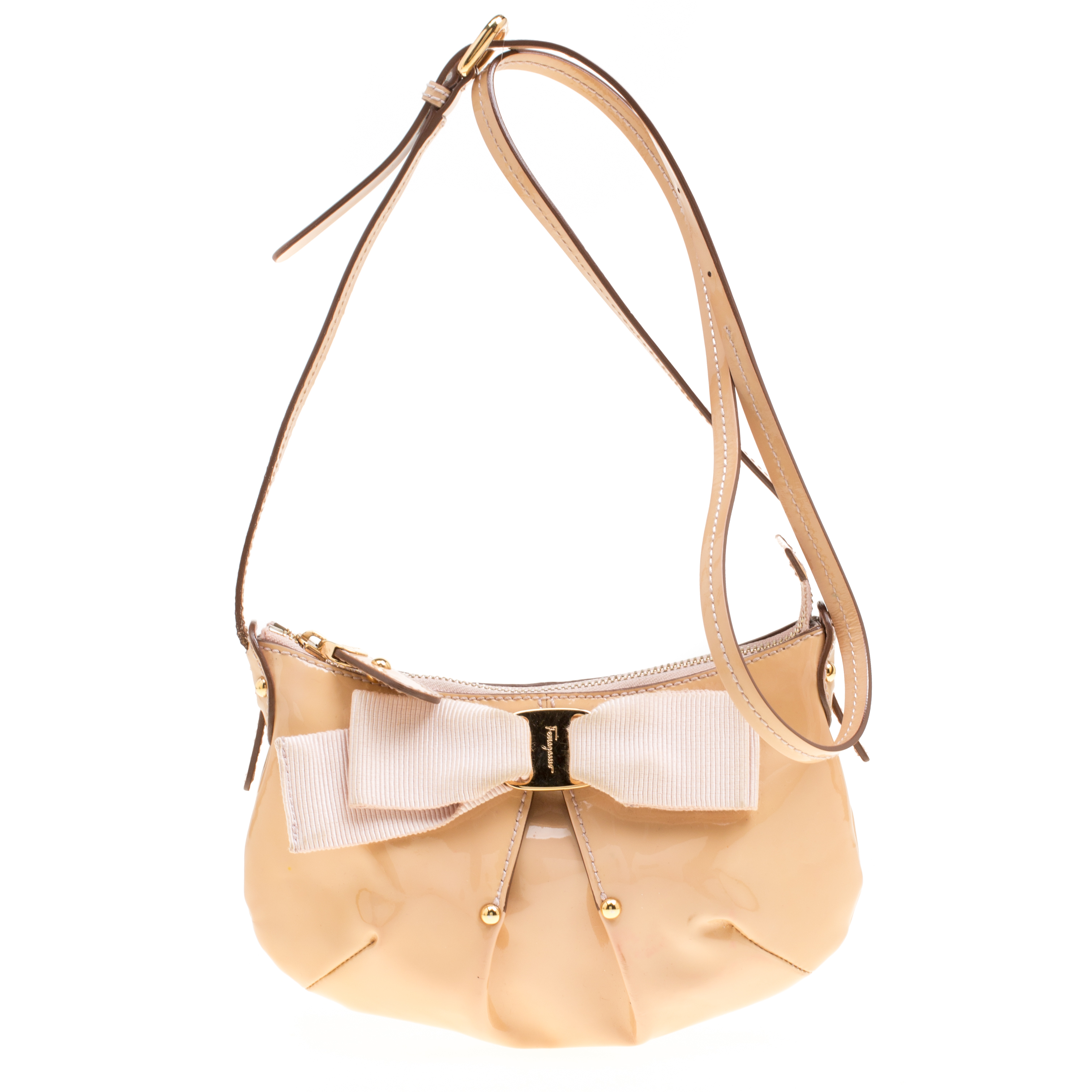 ... Salvatore Ferragamo Beige Patent Leather Miss Vara Shoulder Bag.  nextprev. prevnext 461e8782eb5e7