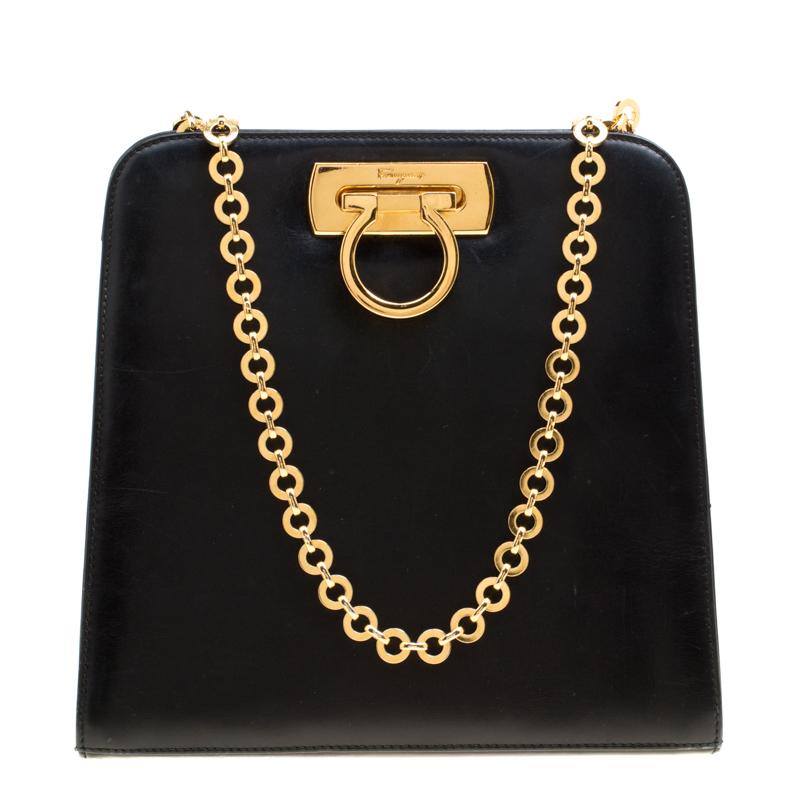 fa50d1aa39 ... Salvatore Ferragamo Black Leather Shoulder Bag. nextprev. prevnext