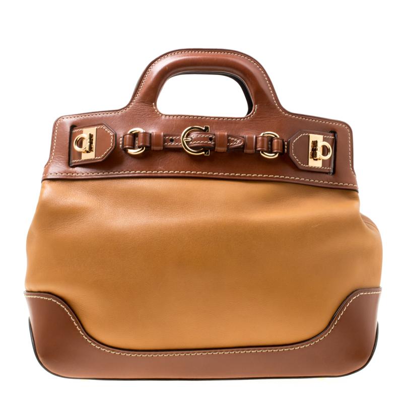 Salvatore Ferragamo Brown Two Tone Leather W Top Handle Bag