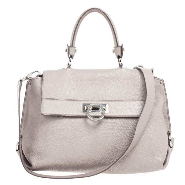 3065b7fc6062 Buy Salvatore Ferragamo Grey Leather Medium Sofia Top Handle Bag 20305 at  best price