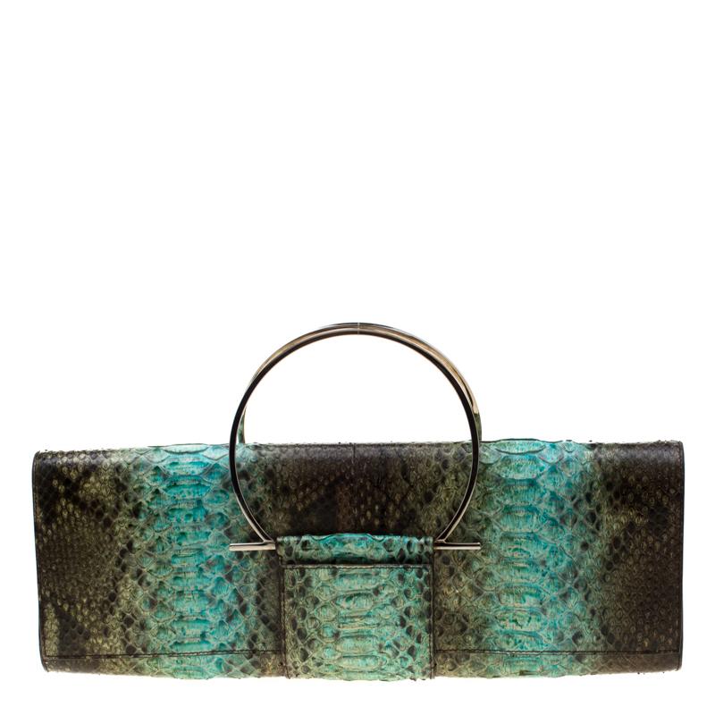 Pre-owned Salvatore Ferragamo Multicolour Python Leather Ring Handle Clutch In Multicolor