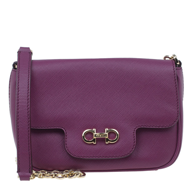 Buy Salvatore Ferragamo Purple Saffiano Leather Gancini Icona Vit Paris  Crossbody 2985 at best price   TLC 669821d3e1