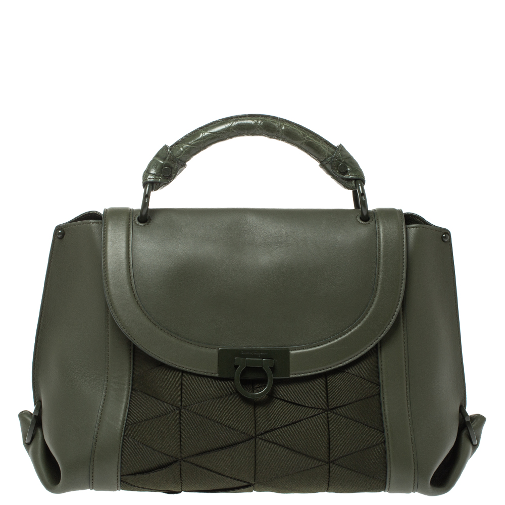 Pre-owned Salvatore Ferragamo Military Green Fabric And Leather Sofia Top Handle Bag