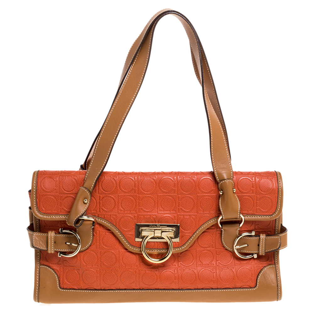 Pre-owned Salvatore Ferragamo Orange/tan Leather Flap Satchel