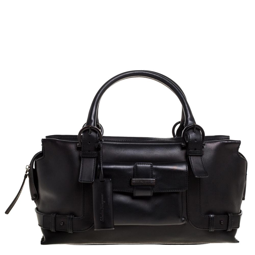 Pre-owned Salvatore Ferragamo Black Leather Front Pocket Satchel