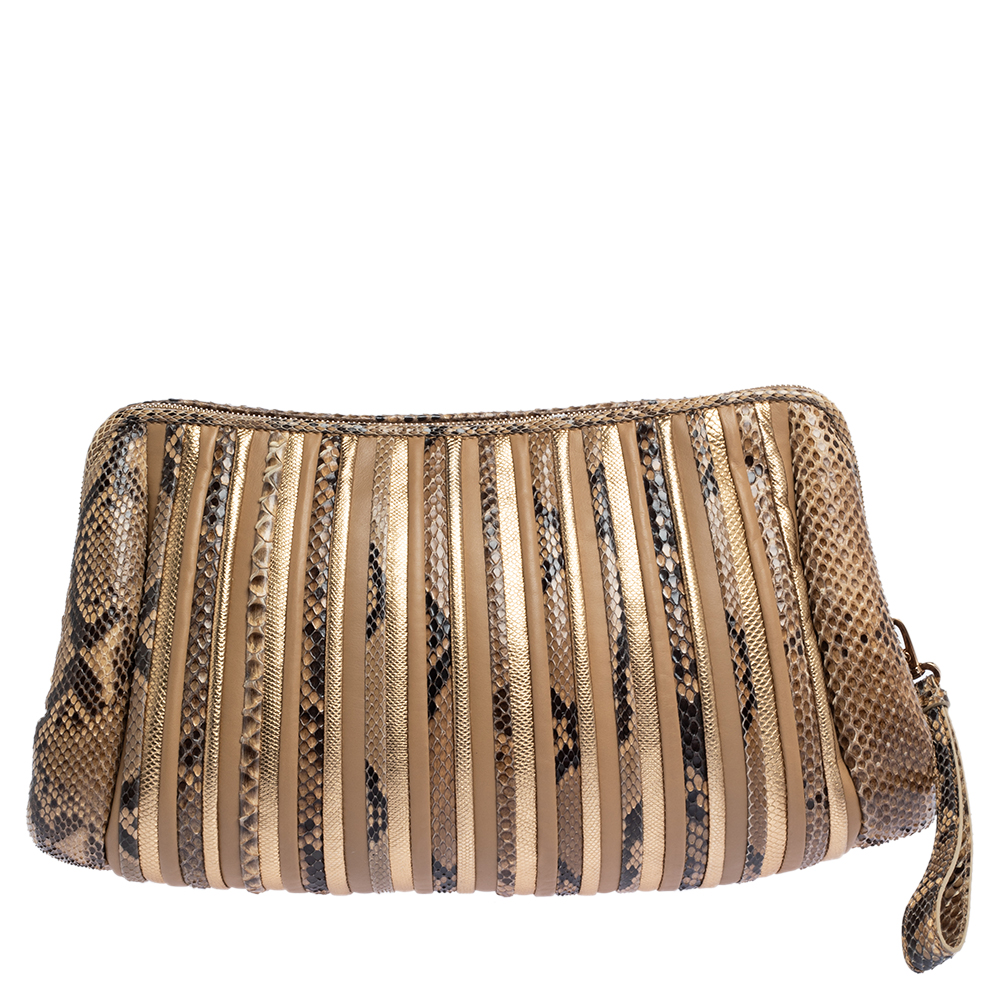Pre-owned Salvatore Ferragamo Multicolor Python And Leather Clutch