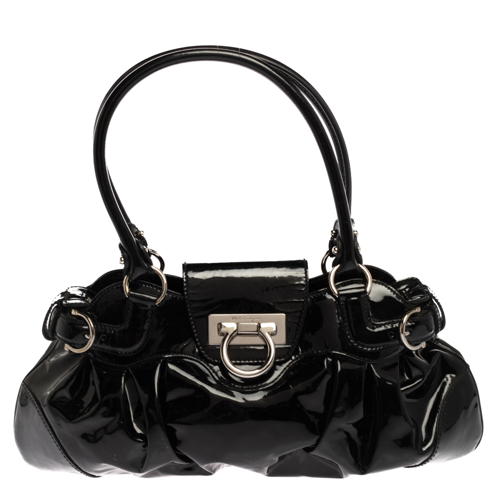 Pre-owned Salvatore Ferragamo Black Patent Leather Marisa Satchel