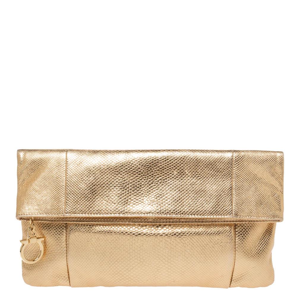 Salvatore Ferragamo Gold Snakeskin Embossed Leather Fold Over Clutch