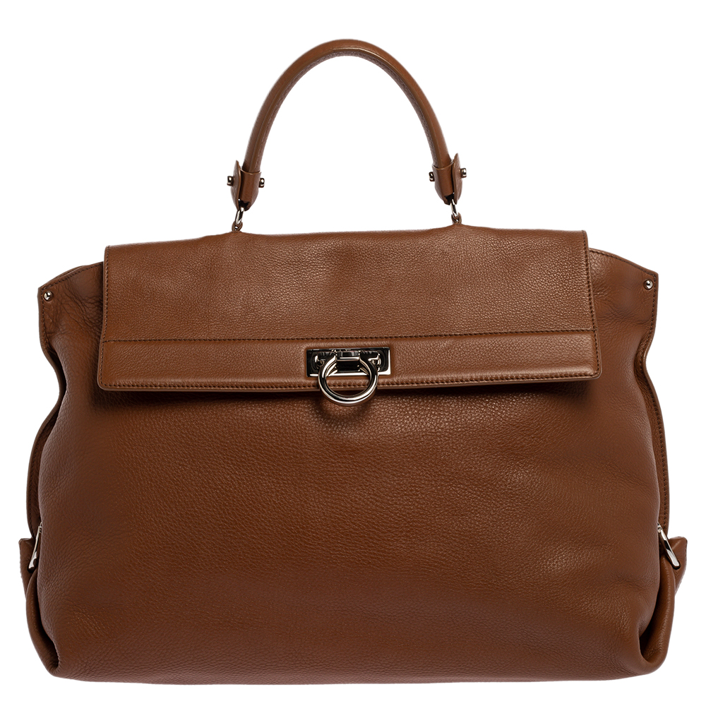 Pre-owned Salvatore Ferragamo Brown Leather Sofia Satchel