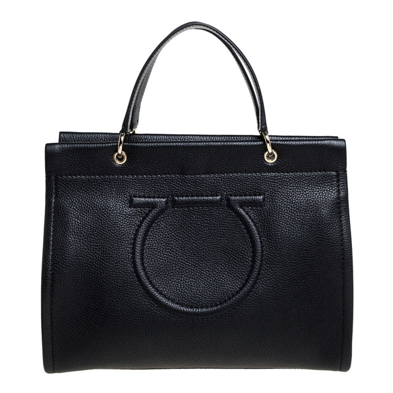 Pre-owned Salvatore Ferragamo Black Leather Medium Meera Tote