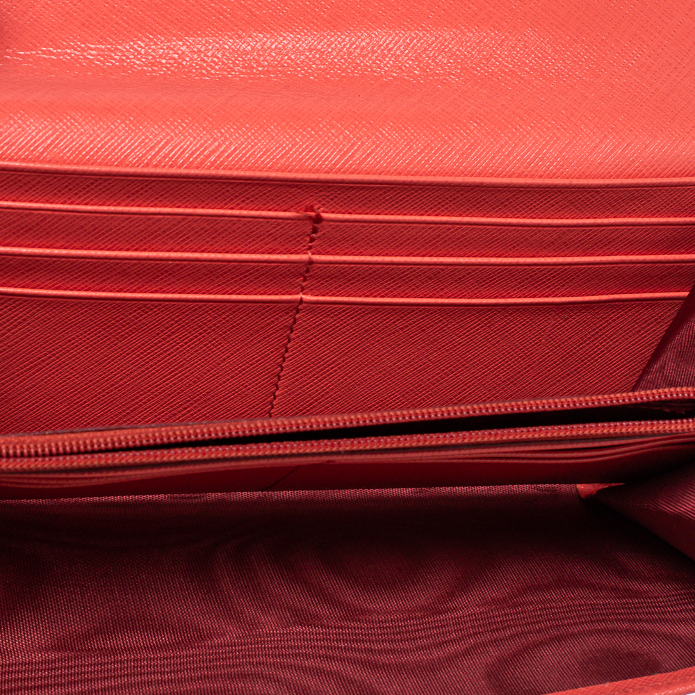 Salvatore Ferragamo Coral Red Leather Gancini Continental Wallet  - buy with discount