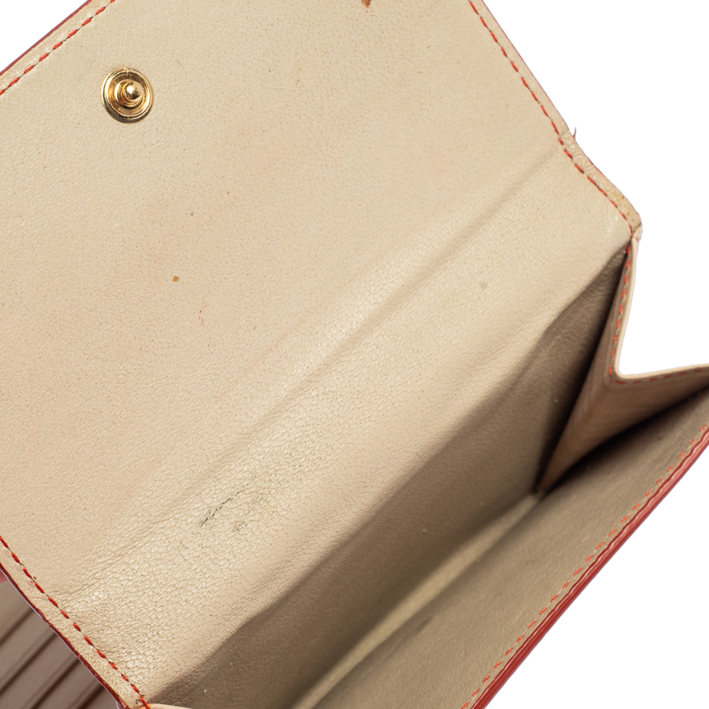 Salvatore Ferragamo Red/Orange Leather Gancini French Wallet