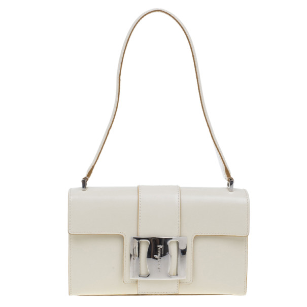 1aff84e054 Buy Salvatore Ferragamo White Flap Buckle Shoulder Bag 5172 at best ...