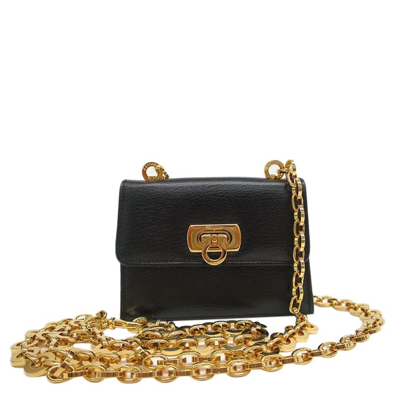 921ce00578 Buy Salvatore Ferragamo Black Calf Leather Mini Gancini Pochette Bag 89858  at best price